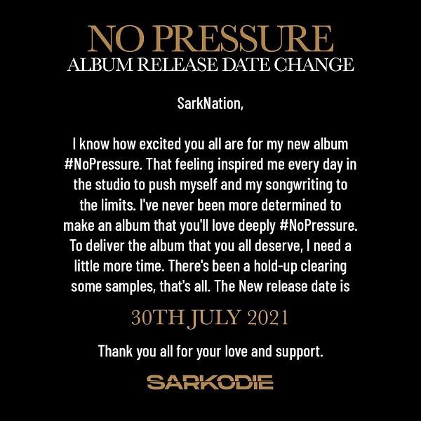 Sarkodie to drop 'No Pressure album July 30